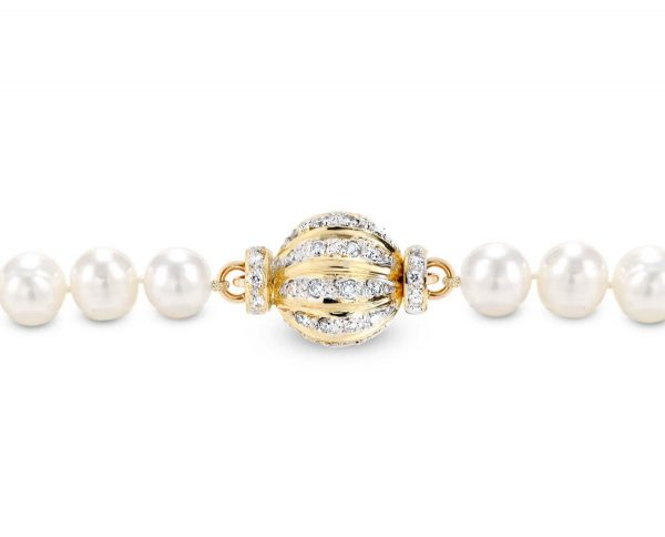 Pearl Necklace Small Gold and Diamond Swirl Clasp