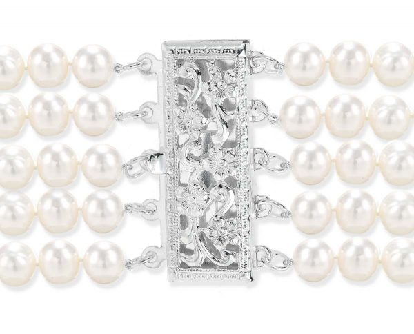 Pearl Silver Clasp for 6 Pearl Strands
