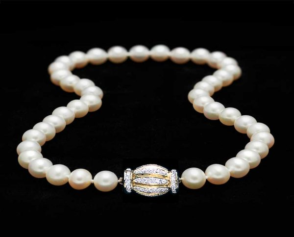 8mm Pearls with Gold and Diamond Barrel Clasp
