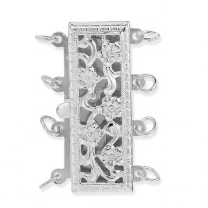 Silver Pearl Clasp for 4 Bracelet Strands