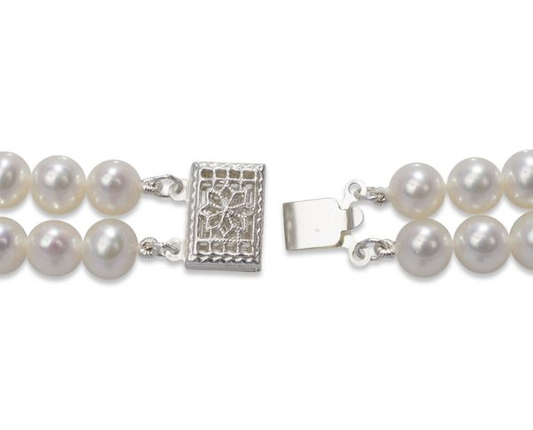 Silver Double Strand Pearl Bracelet Clasp