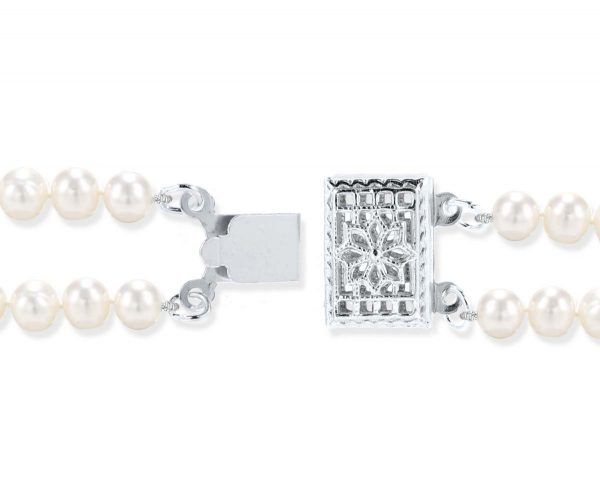Silver Double Strand Pearl Clasp