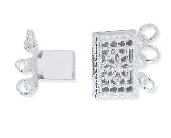 Silver Triple Strand Bracelet Pearl Clasp