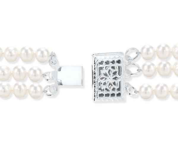 Silver Triple Strand Pearl Clasp