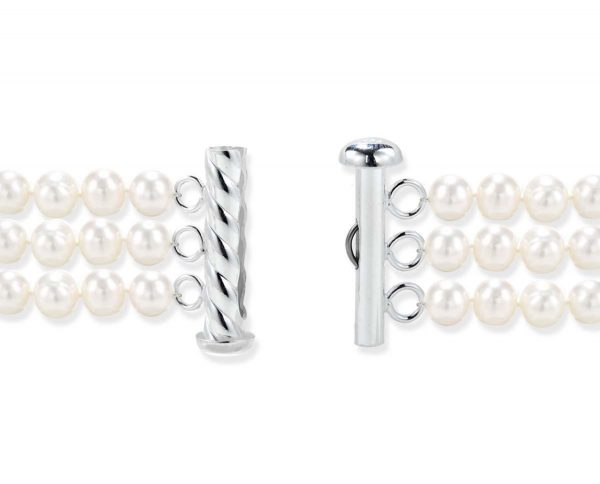 Sterling Silver Spiral Rod Clasp for Triple Pearls