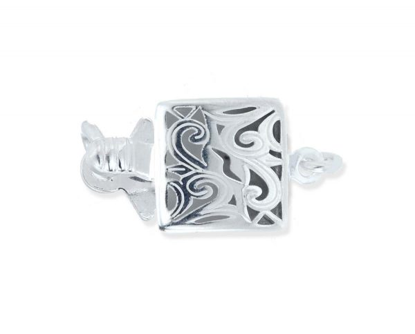 Sterling Silver Swirl Box Clasp for Pearl Bracelet