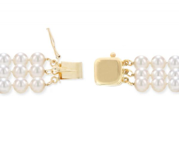 Triple Strand Bracelet Golden Box Clasp