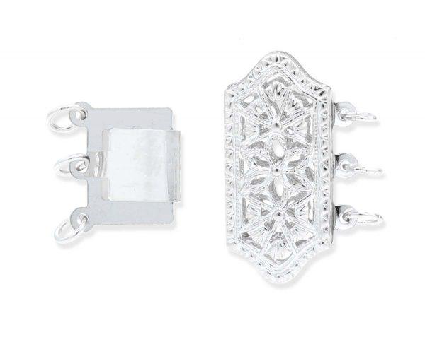 Triple Strand Necklace Filigree Clasp