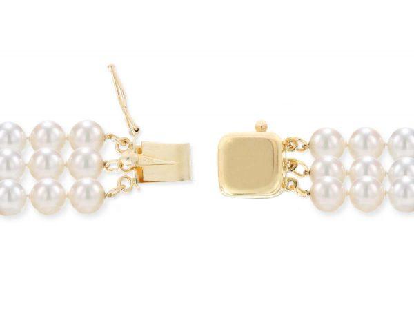 Triple Strand Necklace Golden Box Clasp