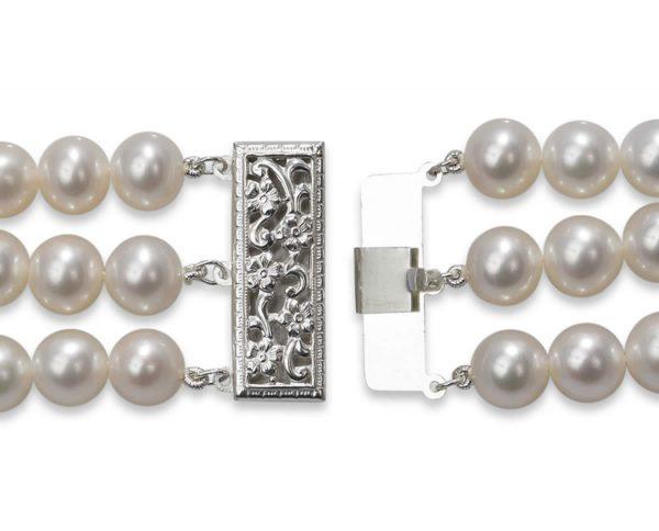 Triple Strand Pearl Silver Bracelet Clasp